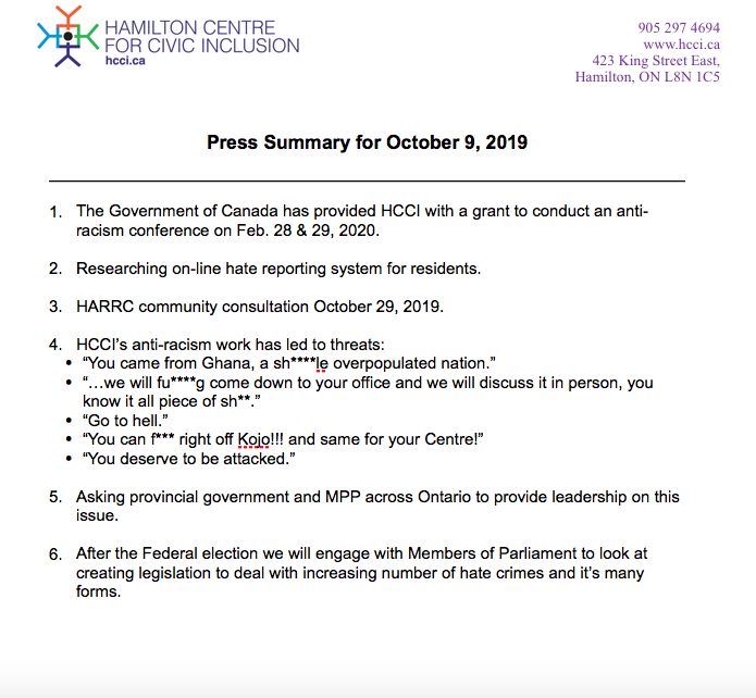 HCCI Press Conference Summary – Oct 9th, 2019