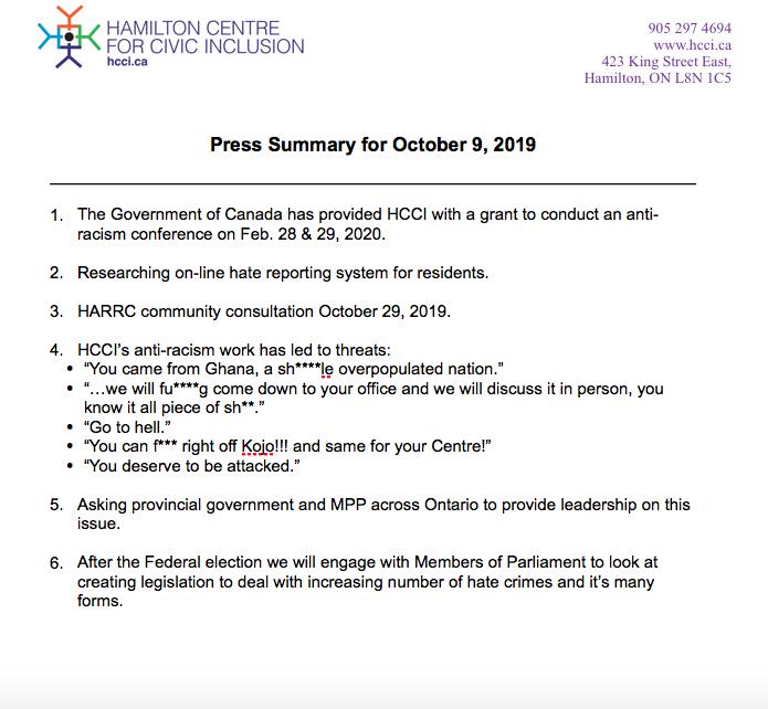 HCCI Press Conference Summary – Oct 9th, 2019