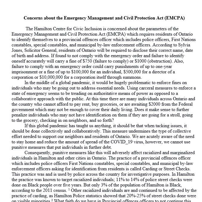Concerns about the Emergency Management and Civil Protection Act (EMCPA)