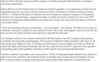 HCCI responses to People's Party of Canada rally