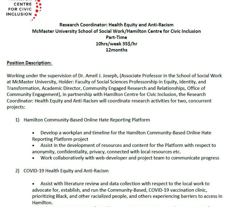 JOB POSTING: Research Coordinator: Health Equity and Anti-Racism